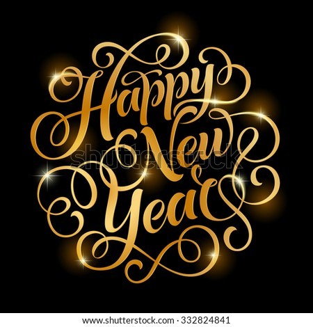 Vector golden text on black background stock photo photo vector vector golden text on black background happy new year lettering for invitation and greeting card stopboris Choice Image