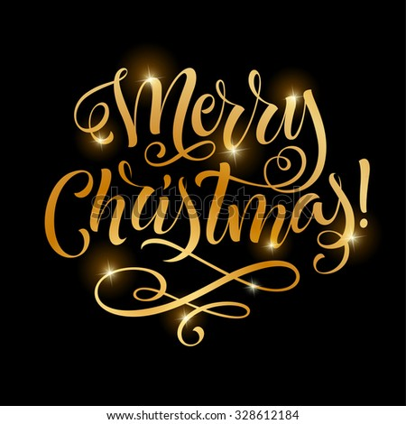 Vector Golden Text On Black Background Merry Christmas Lettering For Invitation And Greeting Card