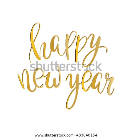 Vector golden text on white background stock vector hd royalty free vector golden text on white background happy new year lettering for invitation and greeting card stopboris Choice Image