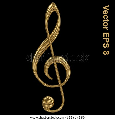 Vector golden treble clef. Eps 8 using mesh.