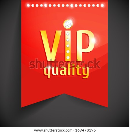 Vector golden vip banner on red ribbon with gems. Diamond fashion design. - stock vector
