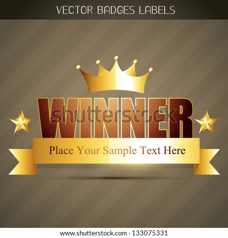 vector golden winner label design - stock vector