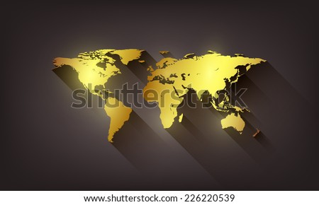 Vector golden world map illustration on dark background. - stock vector