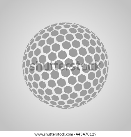 Vector golf ball isolated on a gray background - stock vector