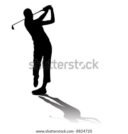 Vector Golfer Silhouette - stock vector
