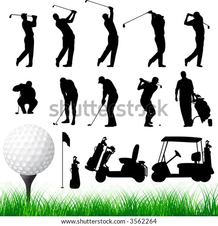 Vector Golfer Silhouettes. - stock vector