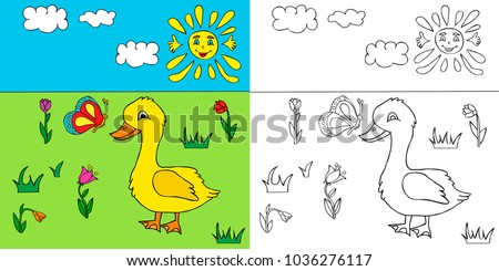 Vector Goose In The Grass Character Book Coloring Page