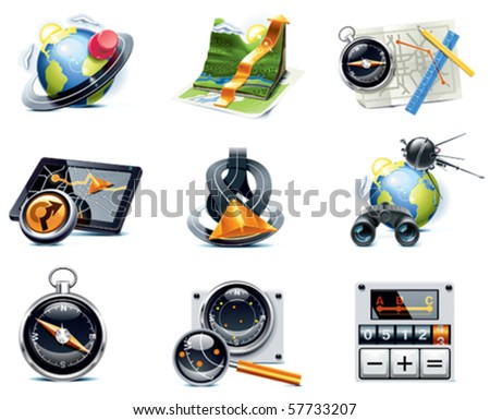 Vector GPS navigation icons. Part 1 - stock vector