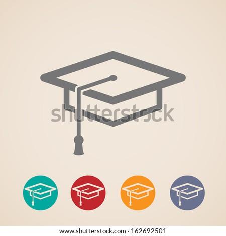 vector graduation cap icons - stock vector