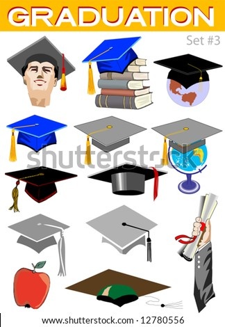 Vector graduation related illustrations set #3