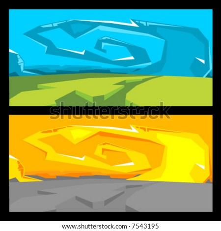Vector Graffiti Landscape - stock vector