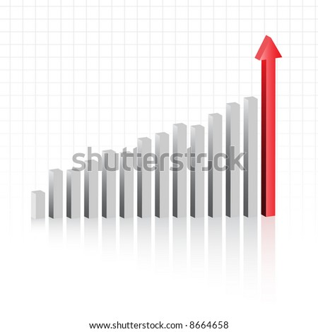 Vector - Graph showing rise in profits or earnings in 3D with drop shadow. - stock vector