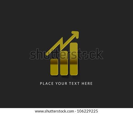 vector graph symbolizing growth progress web golden icon design element. - stock vector