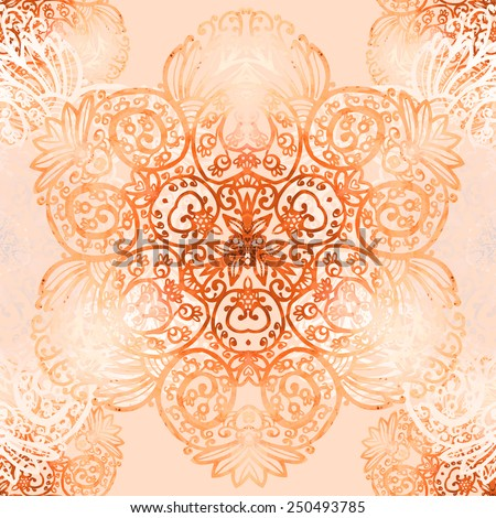 Vector graphic, artistic, Decorative seamless pattern with stylized flowers watercolor - stock vector