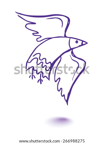 Vector graphic, artistic, stylized image of dove of peace - stock vector