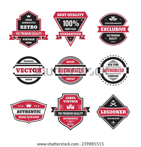 Vector graphic badges collection. Original vintage badges. Creative logo vector set. Vector retro labels collection. Design elements. - stock vector