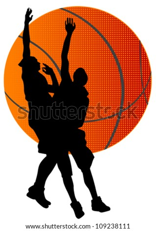 Vector graphic basketball. Silhouette man with ball - stock vector