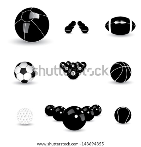 vector graphic- black & white sports balls icons ( signs ). This illustration contains symbols of beach-ball, basketball, tennis, football ( soccer ), rugby, table-tennis, golf, bowling, billiards - stock vector