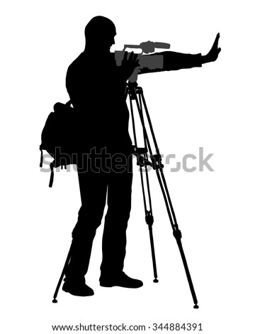 Vector graphic cameraman - with video camera - at work  - silhouette - stock vector