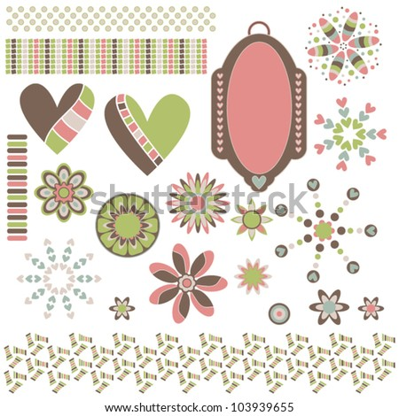 Vector graphic collection with hearts, ornaments, trims and tag
