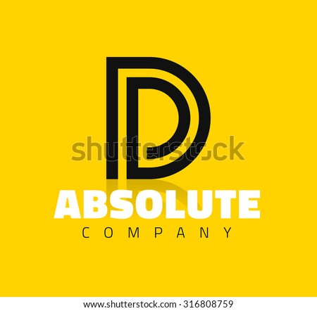 Vector graphic creative line alphabet symbol / Letter D - stock vector
