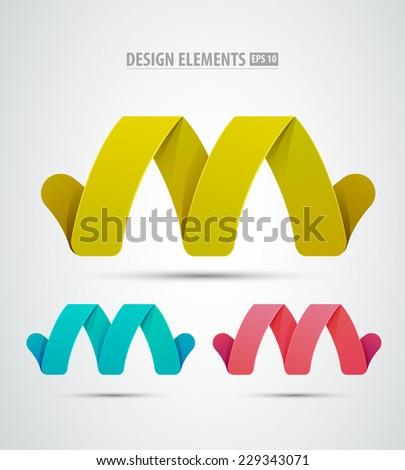 Vector graphic design element - M letter, Logo elements - stock vector