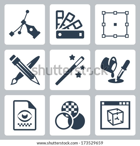 Vector graphic design icons set - stock vector