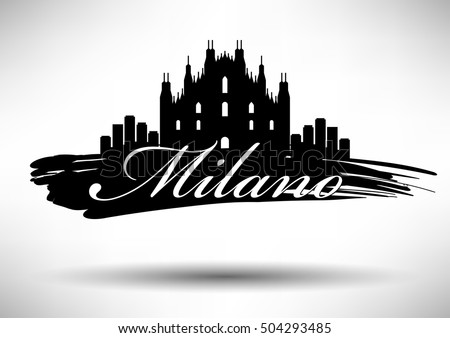 Linear brussels city silhouette typographic design stock for Design city milano