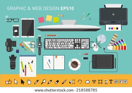 Vector graphic designers desk - stock vector