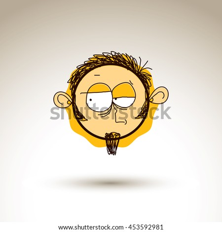 Vector graphic drawing of personality face, bizarre male portrait. Social network theme illustration, human emotions idea. - stock vector
