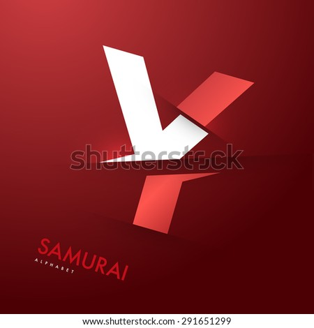 Vector graphic elegant and unique sliced alphabet - Letter Y - stock vector