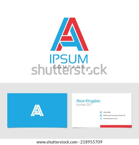 Vector graphic elegant impossible alphabet symbol / business card / identity in two colors / Letter A - stock vector