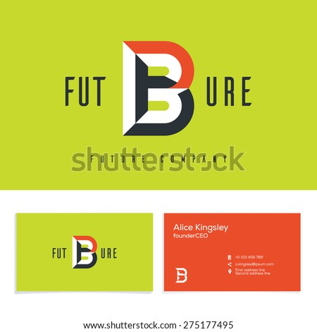Vector graphic elegant impossible alphabet symbol. Identity, business card in two colors, Letter B. - stock vector