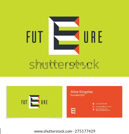 Vector graphic elegant impossible alphabet symbol. Identity, business card in two colors, Letter E. - stock vector