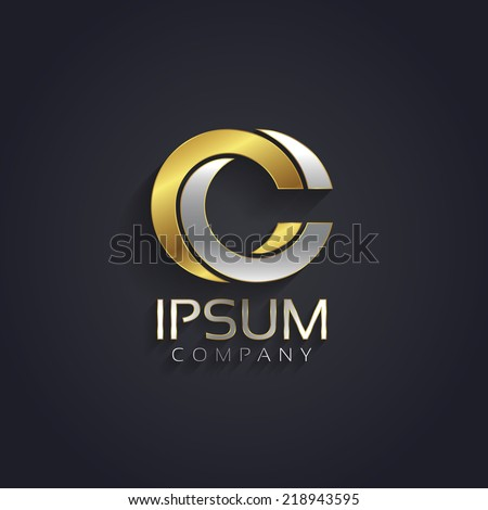 Vector graphic elegant silver and gold impossible font / symbol / alphabet / Letter C - stock vector