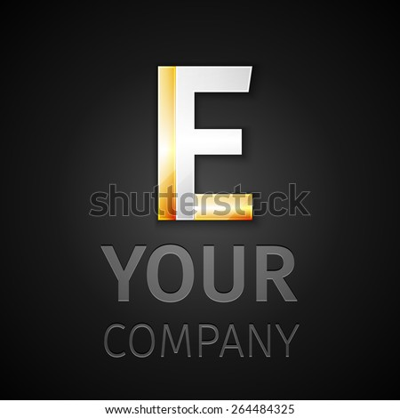 Vector graphic elegant silver and gold impossible font, symbol, alphabet, Letter E - stock vector