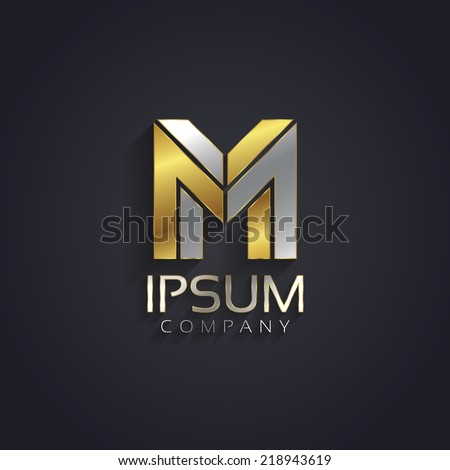Vector graphic elegant silver and gold impossible font / symbol / alphabet / Letter M - stock vector