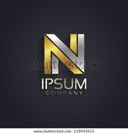 Vector graphic elegant silver and gold impossible font / symbol / alphabet / Letter N - stock vector