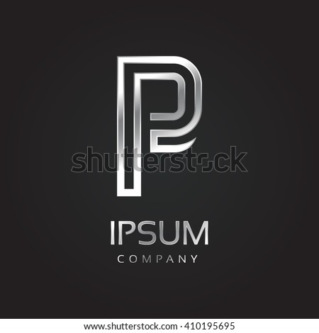 Vector graphic elegant silver font with sample text / symbol / alphabet / Letter P - stock vector