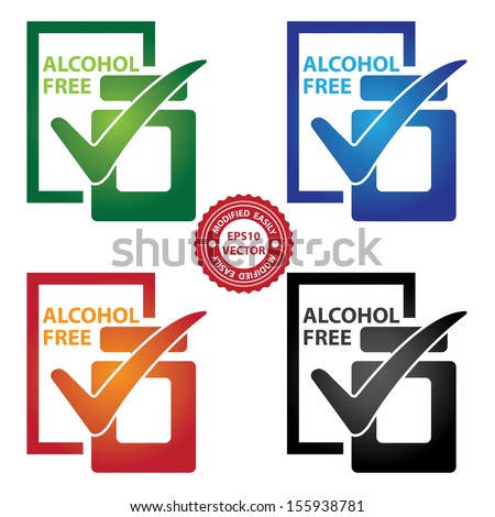 Vector : Graphic for Marketing Campaign, Product Information or Product Ingredient Concept Present By Colorful Alcohol Free Perfume Bottle Sign With Check Mark Isolated on White Background  - stock vector