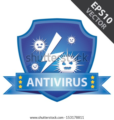 Vector : Graphic For Network Security , Present By Blue Glossy Style Shield Icon With Antivirus Label and Computer Virus Sign Isolated on White Background  - stock vector