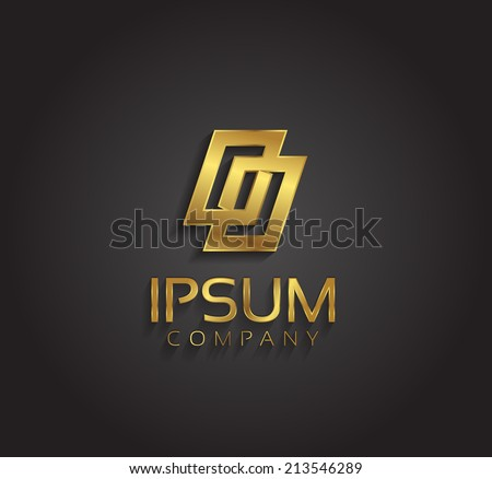 Vector graphic geometric abstract shape / gold symbol with sample text  - stock vector