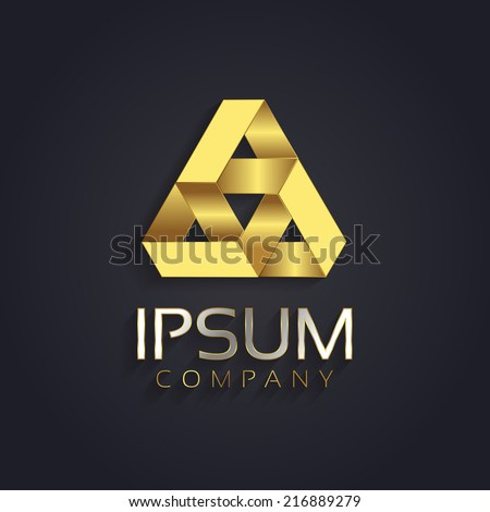 Vector graphic geometric optical illusion abstract shape symbol for your company in gold with sample text - stock vector