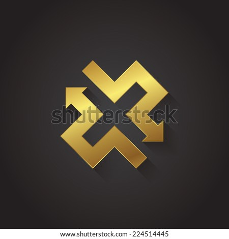 Vector graphic gold arrow alphabet letter symbol / Letter X - stock vector