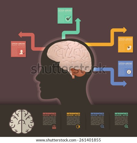 Vector Graphic Human Brain Health and Capacity Concept Infographics Arrow Elements  - stock vector