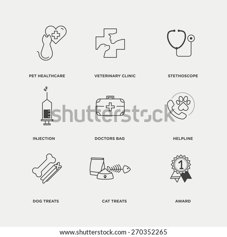 Vector graphic icon set of vet, pet and animal healthcare - stock vector