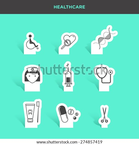Vector graphic icon sticker set of medical supplies and healthcare - stock vector