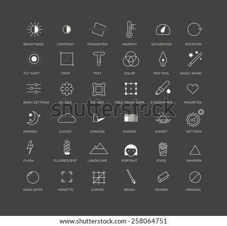 Vector graphic icons, selection of creative and useful photo editing tools, for applications or business - stock vector