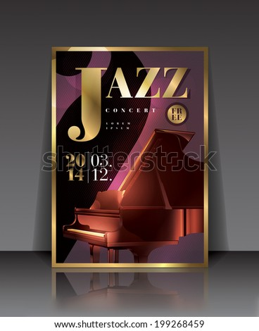 Vector graphic illustration jazz concert poster with piano in purple color - stock vector