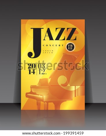 Vector graphic illustration jazz concert poster with piano in yellow color - stock vector